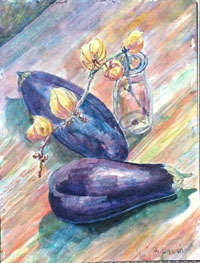 Egg Plants and Glass Bottle